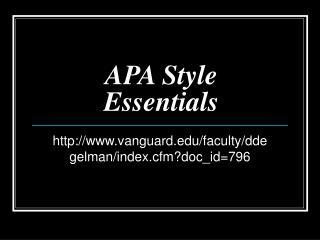 APA Style Essentials