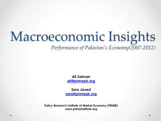 Macroeconomic Insights     Performance of Pakistan's Economy(2007-2012)