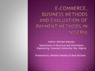 e-Commerce, Business Methods and Evaluation of Payment Methods in Nigeria