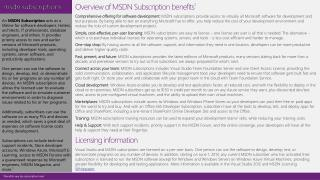 Overview of MSDN Subscription benefits 1