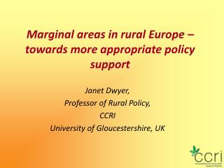 Marginal areas in rural Europe – towards more appropriate policy support
