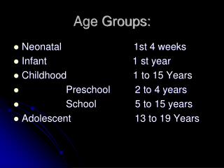 Age Groups: