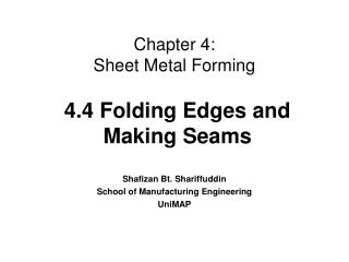 Chapter 4:  Sheet Metal Forming