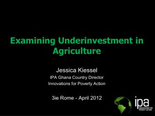 Examining Underinvestment in Agriculture