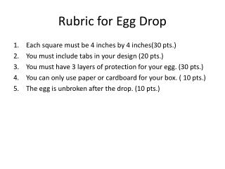 Rubric for Egg Drop