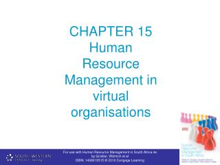 CHAPTER 15   Human Resource Management in virtual organisations
