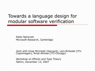 Towards a language design for modular software verification