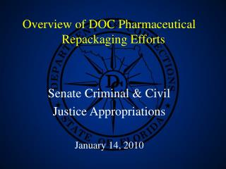 Overview of DOC Pharmaceutical Repackaging Efforts Senate Criminal & Civil  Justice Appropriations