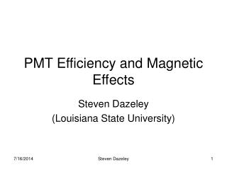 PMT Efficiency and Magnetic Effects