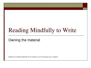 Reading Mindfully to Write