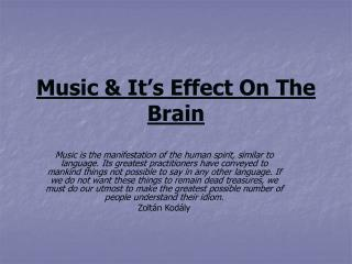 Music & It's Effect On The Brain