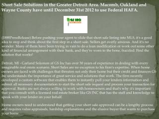 Short Sale Solutions in the Greater Detroit Area. Macomb, Oa