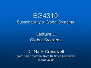 EG4310 Sustainability & Global Systems