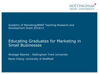 Educating Graduates for Marketing in Small Businesses