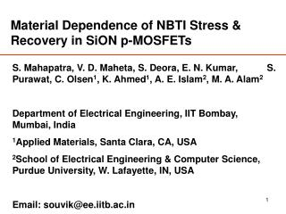 Material Dependence of NBTI Stress & Recovery in SiON p-MOSFETs