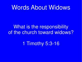 Words About Widows