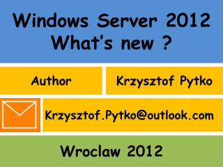 Windows Server 2012 What's new ?