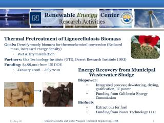 Renewable  Energy   Center Research Activities
