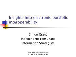Insights into electronic portfolio interoperability