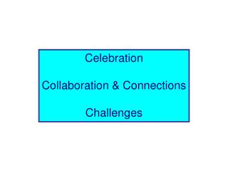 Celebration Collaboration & Connections Challenges