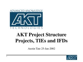 AKT Project Structure Projects, TIEs and IFDs Austin Tate 25-Jan-2002