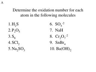 Determine the oxidation number for each atom in the following molecules