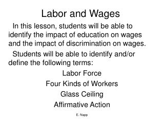 Labor and Wages