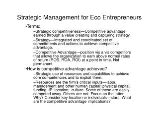 Strategic Management for Eco Entrepreneurs