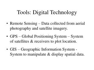 Tools: Digital Technology