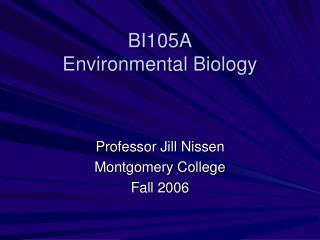 BI105A Environmental Biology