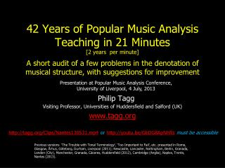 42 Years of Popular Music Analysis Teaching in 21 Minutes  [2 years  per minute]