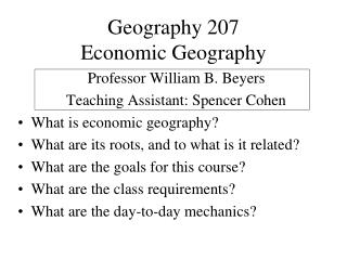 Geography 207 Economic Geography