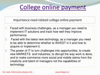 Significance of college online payment