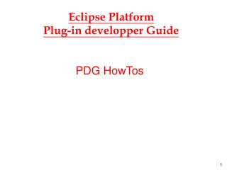 Eclipse Platform Plug-in developper Guide