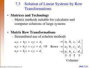 7.3 Solution of Linear Systems by Row Transformations