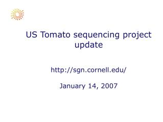 US Tomato sequencing project update http://sgn.cornell.edu/ January 14, 2007