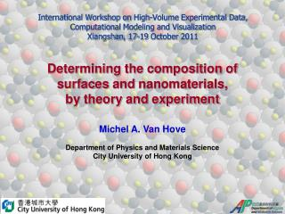 Determining  the composition of  surfaces  and  nanomaterials ,  by  theory and experiment