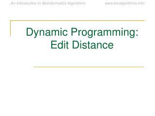 Dynamic Programming: Edit Distance