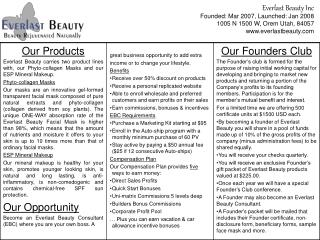 Everlast Beauty Inc Founded: Mar 2007, Launched: Jan 2008 1005 N 1500 W, Orem Utah, 84057