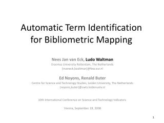 Automatic Term Identification for Bibliometric Mapping