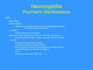 Neurosyphilis Psychiatric Manifestations