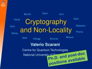 Cryptography and Non-Locality