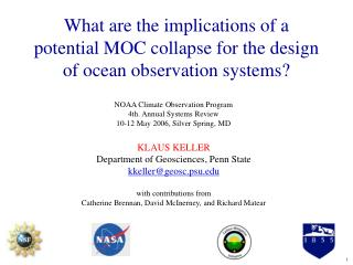 KLAUS KELLER Department of Geosciences, Penn State kkeller@geosc.psu.edu with contributions from