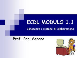 ECDL MODULO 1.1 Conoscere i sistemi di elaborazione