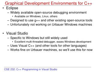Graphical Development Environments for C++