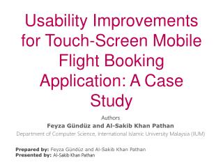 Usability Improvements for Touch-Screen Mobile Flight Booking Application: A Case Study