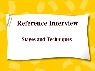 Reference Interview