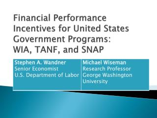 Financial Performance Incentives for United States Government Programs:  WIA, TANF, and SNAP