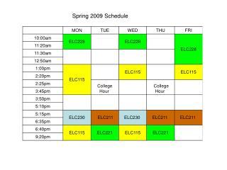 Spring 2009 Schedule