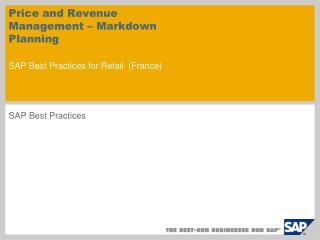 Price and Revenue Management – Markdown Planning  SAP Best Practices for Retail ( France )